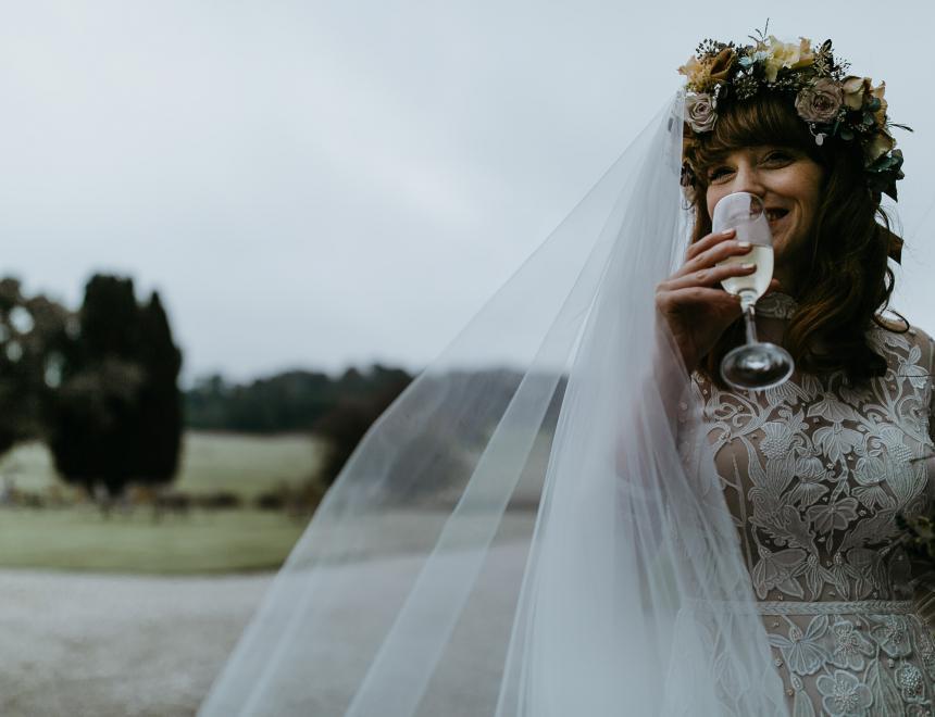 brides floral head veil