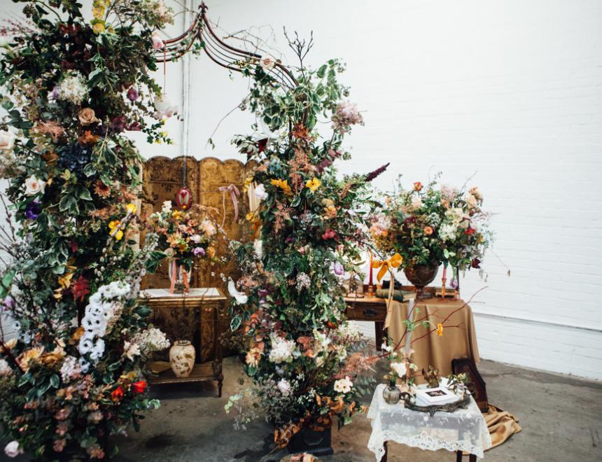 Botanicals, Birds & Velvet Ceremonial Arch